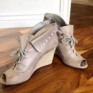 Gianni Bini Wedges Lace Up Studded Leather Heels
